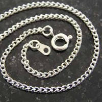 "Chain - Thin silver plate 18"" curb chain"